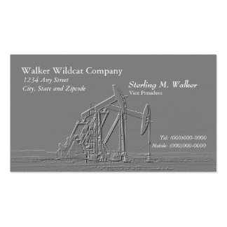 Dual Oil Pumping Unit Silhouette (Embossed Look) Business Cards