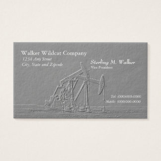 Dual Oil Pumping Unit Silhouette (Embossed Look) Business Card