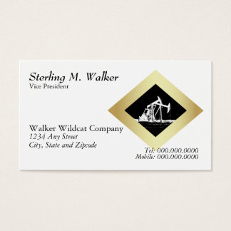 Dual Oil Well Pumping Unit Gold Diamond on White Business Card