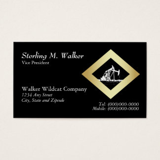 Dual Oil Well Pumping Unit in Gold Diamond Shape Business Card