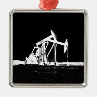 Dual Oil Well Pumping Unit Metal Ornament
