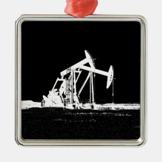Dual Oil Well Pumping Unit Square Metal Christmas Ornament