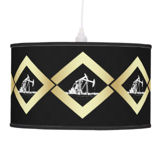 Dual Oil Well Pumping Units Gold and White Black Hanging Lamp