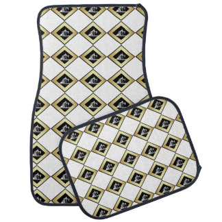 Dual Oil Well Pumping Units Gold and White Car Floor Mat