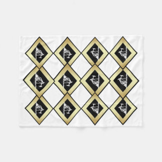 Dual Oil Well Pumping Units Gold and White Fleece Blanket
