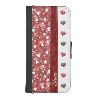 Dual Pattern Confetti Hearts Wallet Phone Case For iPhone SE/5/5s