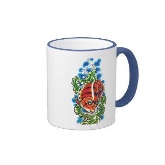 dual red bubblefish ringer ceramic cup mug
