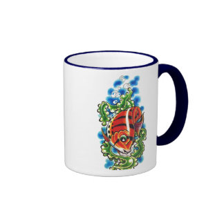dual red bubblefish ringer ceramic cup mugs