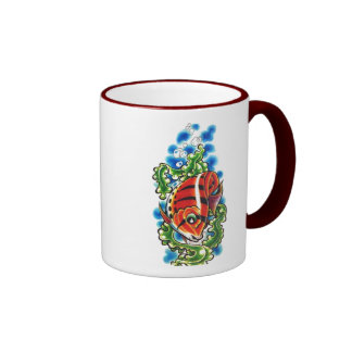 dual red bubblefish ringer ceramic cup coffee mug