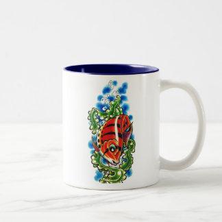 dual red bubblefish two-toned ceramic cup coffee mug