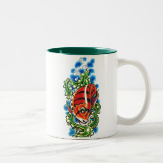dual red bubblefish two-toned ceramic cup mug