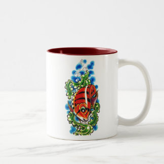 dual red bubblefish two-toned ceramic cup coffee mugs