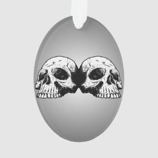 Dual Skeleton On Radial Grey Gradient Ornament