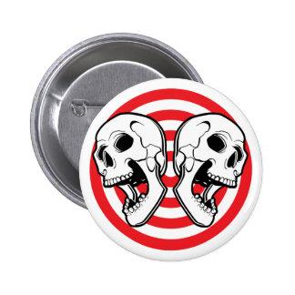 Dual Skull Target Pinback Buttons