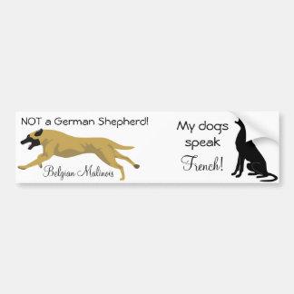 Dual Sticker: NOT a shepherd / dog speaks french Car Bumper Sticker