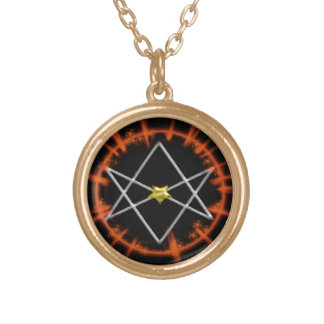 dual unicursal hexagram gold plated necklace