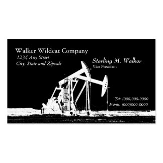 Dual White Oil Pumping Unit Silhouette Business Card Templates