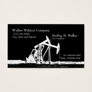 Dual White Oil Pumping Unit Silhouette Business Card