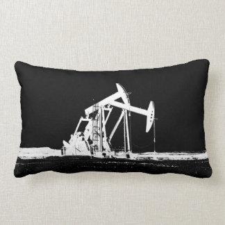 Dual White Oil Pumping Unit Silhouette Lumbar Pillow