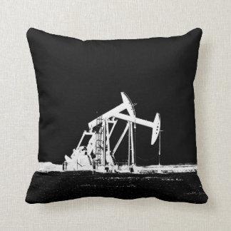 Dual White Oil Pumping Unit Silhouette Pillow
