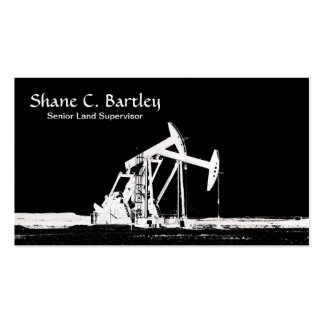Dual White Oil Well Pumping Unit Silhouette Business Card