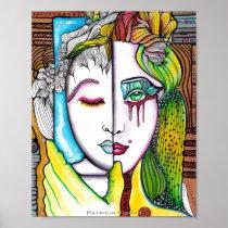 artsprojekt, ink, drawing, emotion, psychology, duality, eyes, face, portrait, gemini, patricia vidour, creative, artistic, art, illustration, people, woman, skin, painting, cool, hair, illustrations, virtue, Cartaz/impressão com design gráfico personalizado