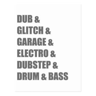 Dub Electro Glitch Dubstep Drum and Bass shirt Postcard