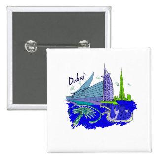dubai city blue graphic travel design.png pinback button