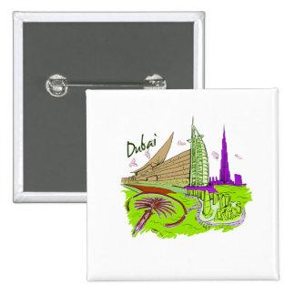 dubai city green graphic travel design.png pinback button