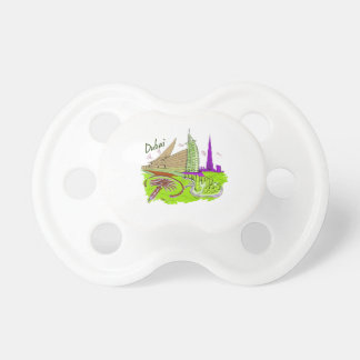 dubai city green graphic travel design png pacifier