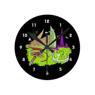 dubai city green graphic travel design.png round clock