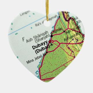 Dubai City Map Ceramic Ornament