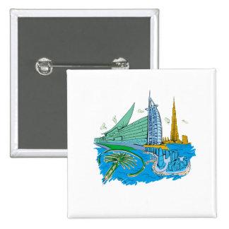 dubai city no txt blue graphic travel design.png pinback buttons