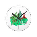 dubai city no txt green 2 graphic travel design.pn wall clocks