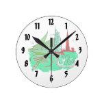 dubai city no txt green 2 graphic travel design.pn round wall clock