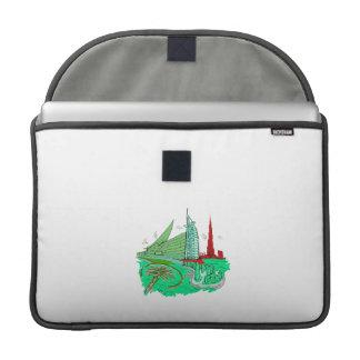 dubai city no txt green 2 graphic travel design.pn sleeve for MacBooks