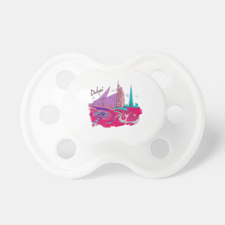 dubai city pink graphic travel design png baby pacifier