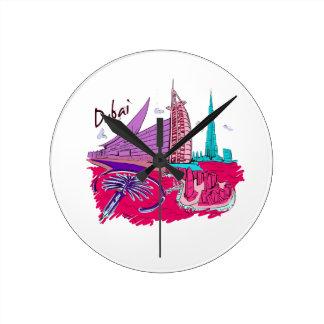 dubai city pink graphic travel design.png round clock
