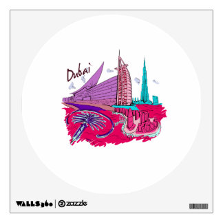 dubai city pink graphic travel design.png room decal