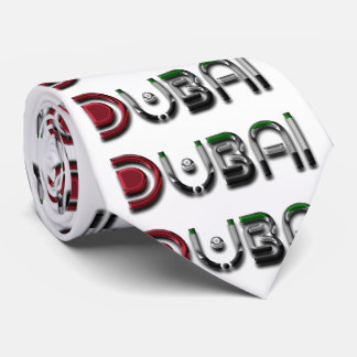 Dubai City UAE Flag Colors Typography Tie