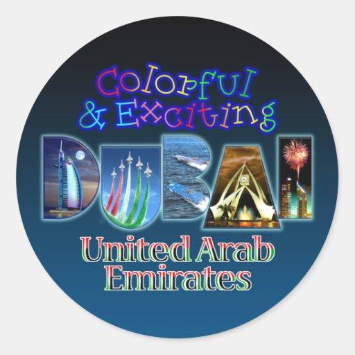 Dubai colorido y emocionante etiqueta redonda