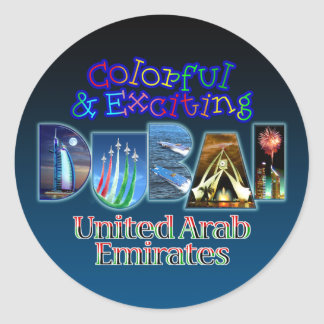 Dubai colorido y emocionante pegatina redonda
