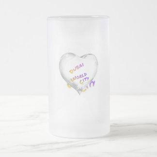 Dubai Heart, world city Frosted Glass Beer Mug