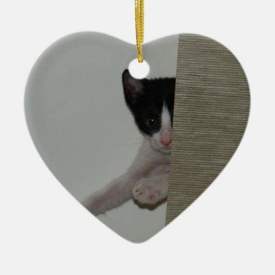 Dubai Kitten - playing Peek A Booh Ceramic Ornament