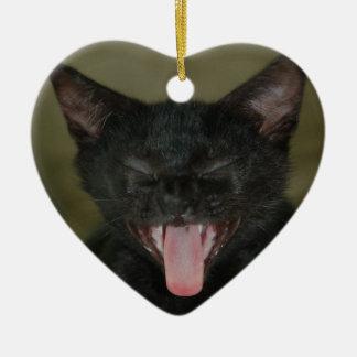 Dubai Kitten-Sticking out his tongue Double-Sided Heart Ceramic Christmas Ornament