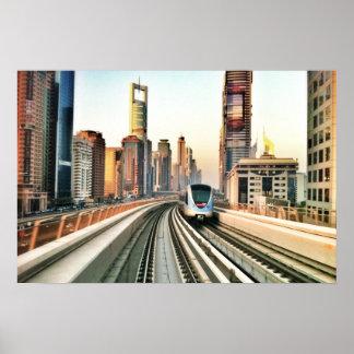 Dubai Metro and the city Poster