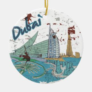 Dubai Double-Sided Ceramic Round Christmas Ornament