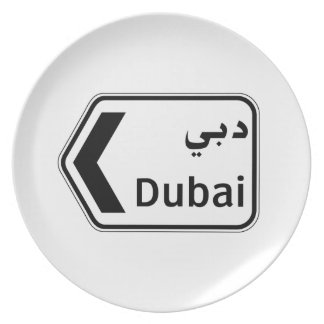 Dubai, señal de tráfico, United Arab Emirates Plato De Cena