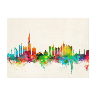 Dubai Skyline Stretched Canvas Print