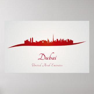 Dubai skyline in red póster